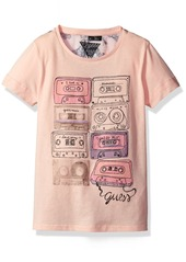 GUESS Big Girls' Short Sleeve Graphic Record Tape T-Shirt