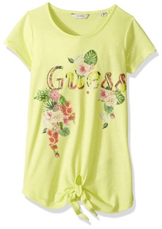 GUESS Girls' Big Short Sleeve Tie T-Shirt