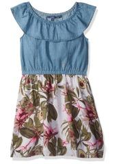Guess Girls' Big Sleeveless Chiffon and Denim Dress
