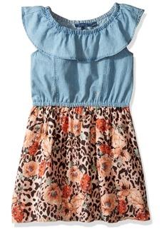 GUESS Big Girls' Sleeveless Denim and Printed Chiffon Dress
