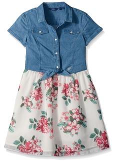 GUESS Big Girls' Short Sleeve Denim and Printed Chiffon Dress
