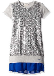 GUESS Big Girls' Viscose Stretch Jersey Dress with Sequin
