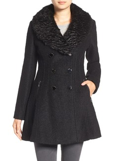 GUESS Bouclé Fit & Flare Coat with Faux Fur Collar