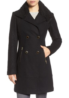 GUESS Bouclé Sleeve Wool Blend Military Coat