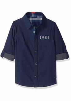 Guess Boys' Big Adjustable Long Sleeve Dot Shirt Midnight Dark Blue wash