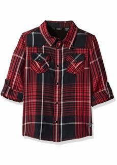 GUESS Boys' Big Adjustable Long Sleeve Plaid Shirt red/Black Check