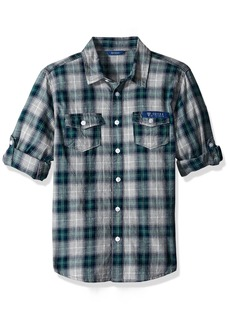 GUESS Boys' Big Boys' Long Sleeve Plaid Button Front Shirt