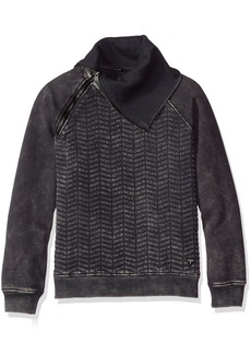 GUESS Boys' Big Boys' Long Sleeve Quilted Fleece Zip Neck Popover