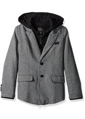 GUESS Boys' Big Boys' Tweed Blazer with Fleece Placket and Hood