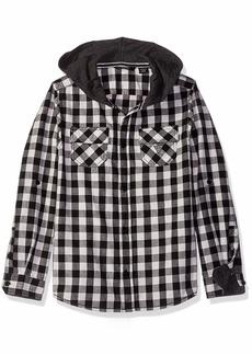 Guess Boys' Big Hooded Adjustable Long Sleeve Plaid Shirt