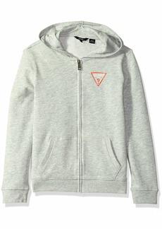 GUESS Boys' Big Long Sleeve Zip Up Logo Core Hoodie