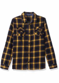 Guess Boys' Big Plaid Button Down Roll Up Sleeve Shirt