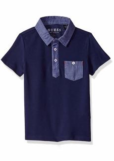 GUESS Boys' Big Short Sleeve Contrast Pocket Polo