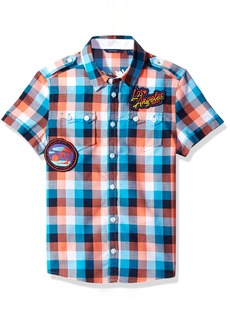 GUESS Boys' Big Short Sleeve Plaid Shirt