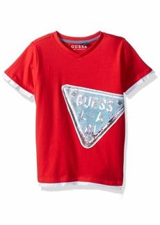 GUESS Boys' Little Baxter Short Sleeve Graphic T-Shirt red hot