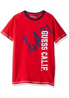 Guess Boys' Little Bradley Short Sleeve Graphic T-Shirt red hot