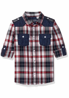 Guess Boys' Little Damon Adjustable Long Sleeve Plaid Shirt