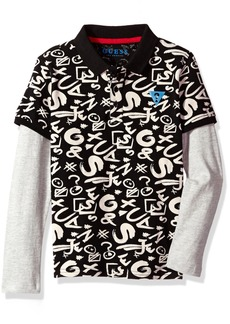 GUESS Boys' Little Long Sleeve Graphic Combo Polo Black/White Print