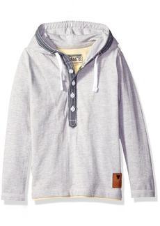 GUESS Boys' Little Long Sleeve Hooded Knit Jersey Henley Shirt