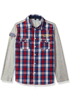 Guess Boys' Little Long Sleeve Plaid Shirt Necessary RED White Macro Gingham Combo