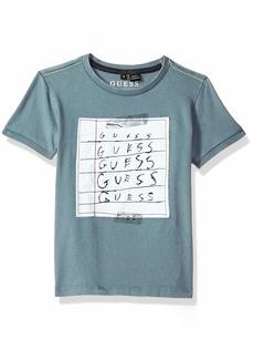 GUESS Boys' Little Short Sleeve Paper Graphic Logo T-Shirt