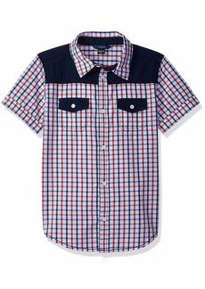 Guess Boys' Little Short Sleeve Plaid Shirt