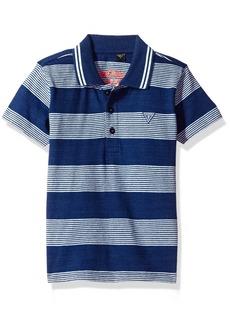GUESS Boys' Little Short Sleeve Yarn Dyed Strip Polo Shirt