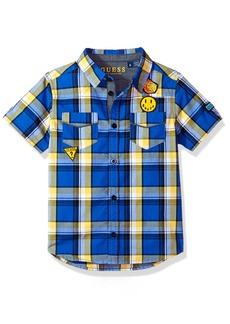 GUESS Boys' Plaid Button Down Shirt with Patches
