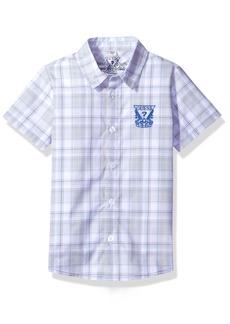 GUESS Boys' Short Sleeve Plaid Logo Shirt