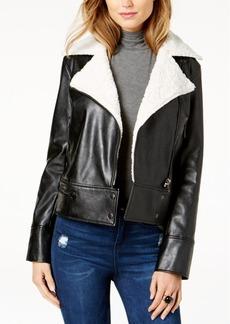 Guess Branson Faux-Shearling-Collar Moto Jacket