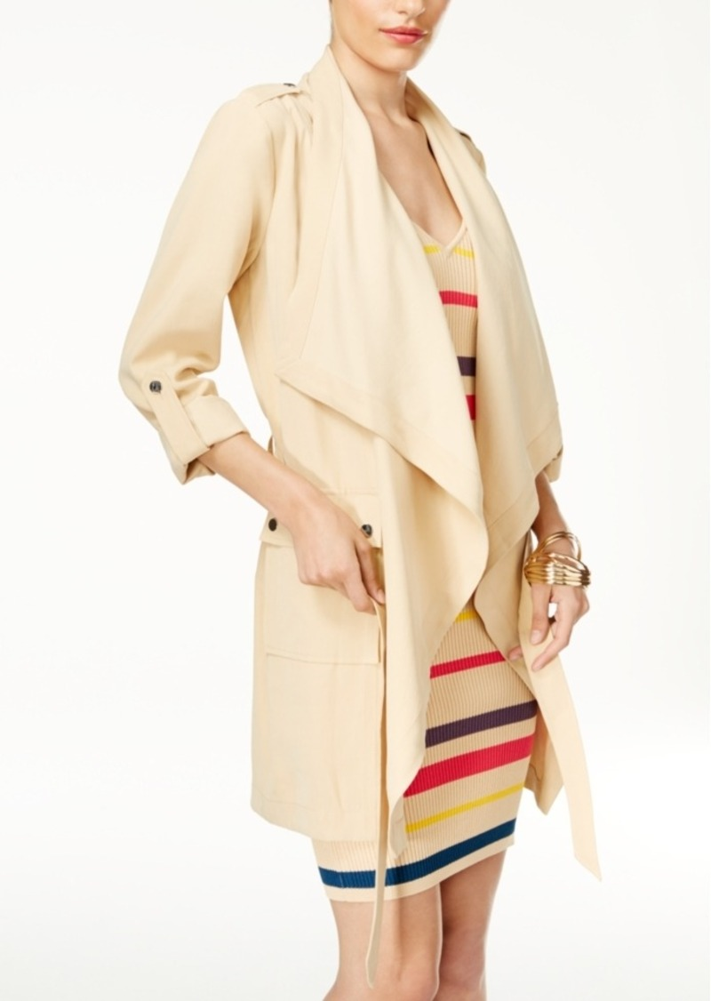 belt blazer zara itm long wool rare coat photo ribbons l jacket with draped drapes size