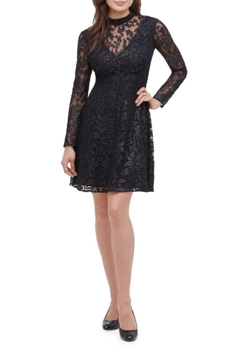 Guess Burnout Embroidered Lace Dress