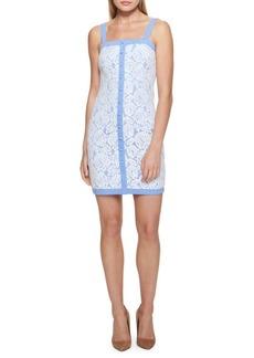 Guess Buttoned Denim & Lace Dress