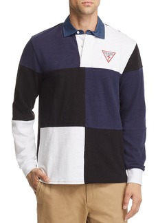 GUESS Caleb Long-Sleeve Color-Block Rugby Shirt