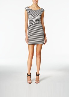 Guess Cap-Sleeve Off-the-Shoulder Striped Bodycon Dress