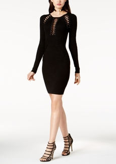 Guess Cary Lace-Up Bodycon Sweater Dress