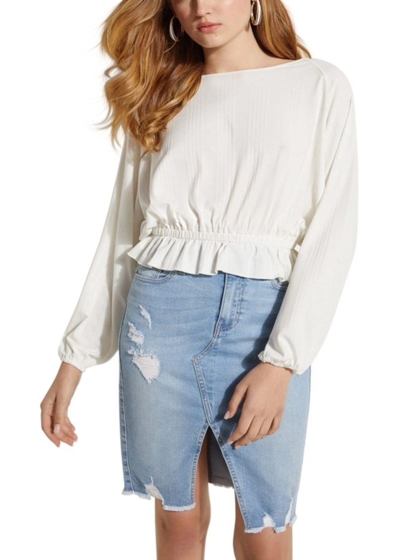 Guess Cary Smocked-Waist Top