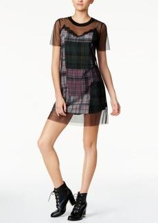 Guess Cass Mesh & Plaid T-Shirt Dress