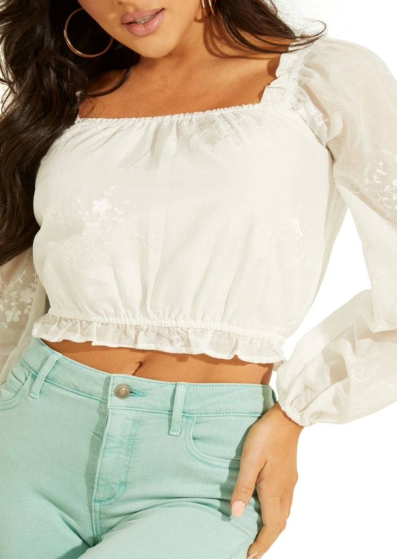 Guess Cassie Embroidered Crop Top