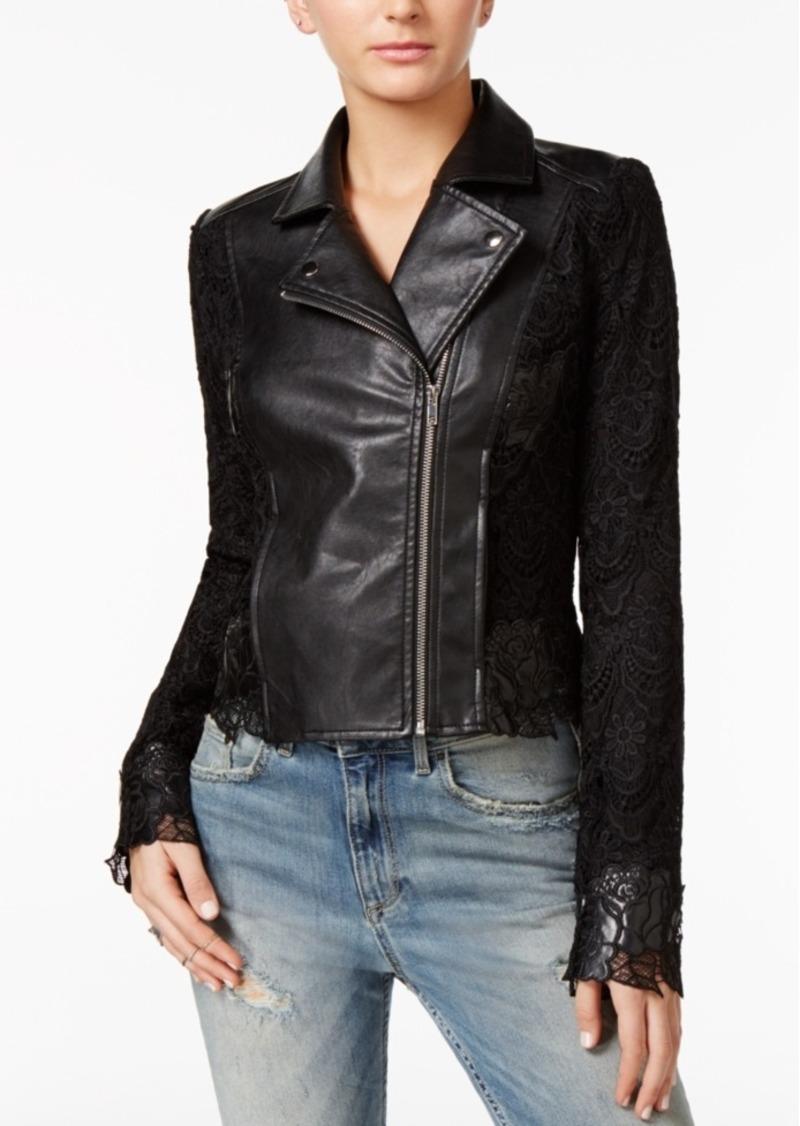 Guess Celeste Lace-Contrast Moto Jacket