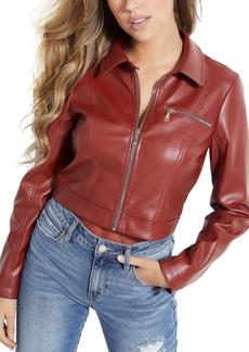 Guess Cella Cropped Faux-Leather Jacket