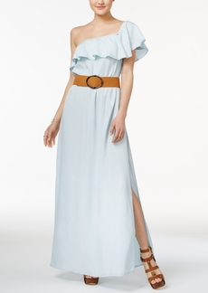 Guess Chambray Belted One-Shoulder Maxi Dress