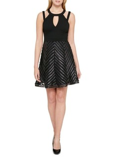 Guess Chevron Fit-&-Flare Dress