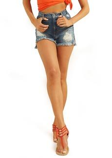GUESS Claudia Distressed High Waist Cutoff Denim Shorts