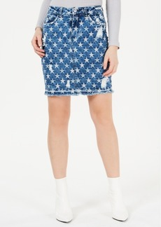 Guess Cleo Ripped Star Printed Denim Skirt