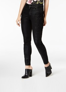 Guess Coated Lace-Trim Skinny Jeans
