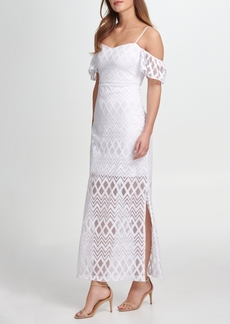 Guess Cold Shoulder Geo Stripe Lace Maxi Sundress