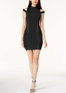 Guess Cold-Shoulder Hardware Sweater Dress