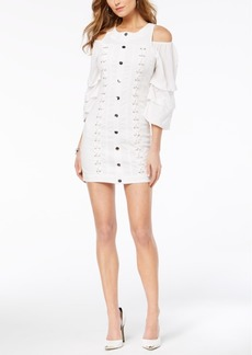 Guess Cold-Shoulder Lace-Up Denim Dress