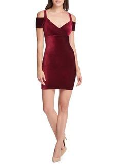Guess Cold-Shoulder Velvet Mini Dress